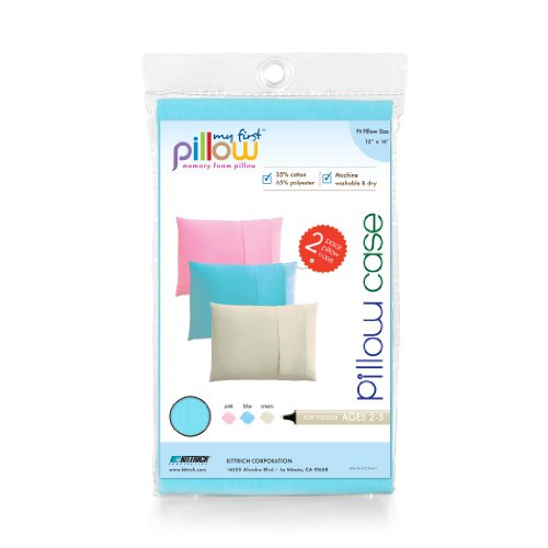 """My First  Set of Two Toddler Pillow Cases Fits Pillows Sized 12"""" x 16"""", Blue"""