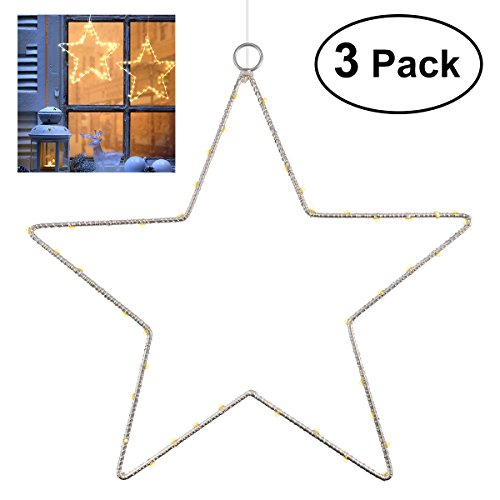 YUNLIGHTS Window Christmas Lights, 3 Pack Window Star Lights LED Star Decoration Lighted Battery Operated with Remote Control, 8 Lighting Modes for Xmas, Wedding, Party, Indoor,Outdoor Use