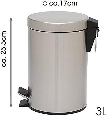 Mack - Cubo de Basura cilíndrico 3L - con Pedal y Tapa - Acero Inoxidable - Varios tamaños 3L