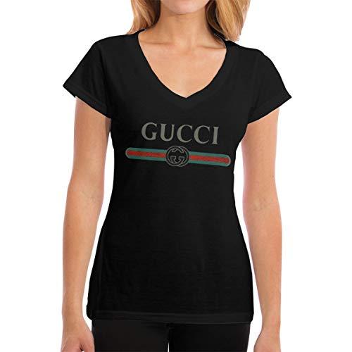 28d492a07 Kespeare Woman's V Neck Classic-Gucci-Logos Short Sleeve T-Shirt Black