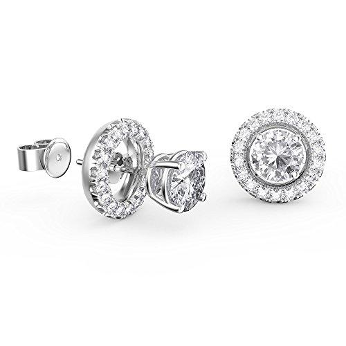 Boucles d'oreille or blanc 18carats Diamant Fusion Halo Vestes (0.2ct GH/SI diamants)