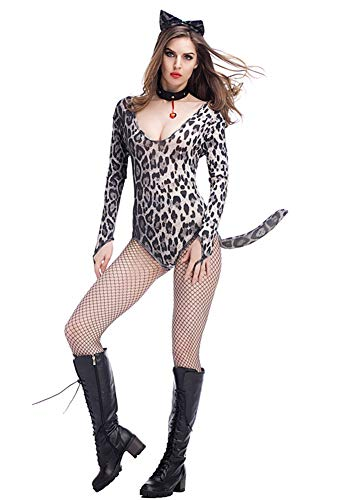 Yeniya Female Leopard Print Siamese Catsuit, Lovely Halloween Night Club bar Party Clothing, Color 1, one -