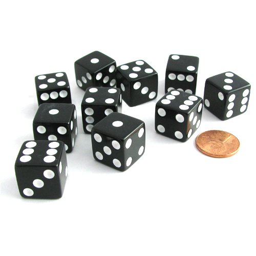 - Set of 10 Six Sided D6 16mm Standard Dice Black by Koplow Games