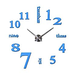 Wenzi-day DIY Home Decoration Wall Stickers Brief Style Still Life Quartz Living Room Wall Clock,Sky Blue,37inch