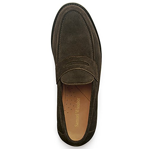 Samuel Windsor Men's Handmade Goodyear Welted Slip-On Penny Loafer Leather Shoes in Black, Brown, Brown Suede, Dark Brown Suede Black Suede Brown Dark Suede