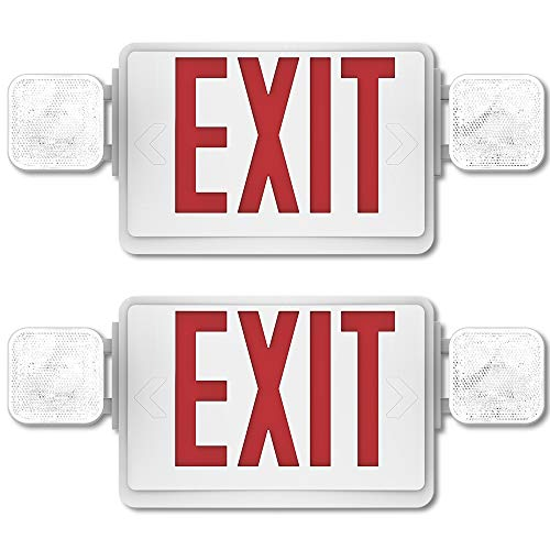 Sunco Lighting 2 Pack Emergency Single/Double Sided EXIT Sign LED Light Fixture with Dual Head Lights Plus Back Up Battery Pack, Commercial, Fire Resistant, US Standard Red Letter Light - UL Listed