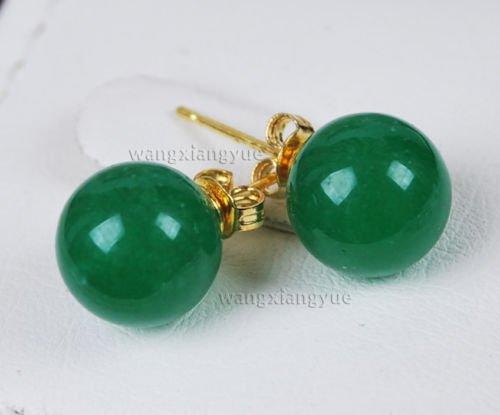 Gozebra(TM) 10MM Real Natural Green Jade Round Beads 14K GP stud earrings AAA Grade