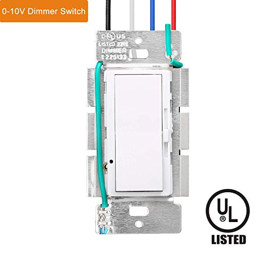 LED Dimmer Switch, Single Pole Slide Dimmer Switch, 0-10V Dimmer Switchfor Dimmable LED, 1x4/2x2/ 2x4 LED Flat Panel Light, UL-Listed, Easy to Install Light Switch