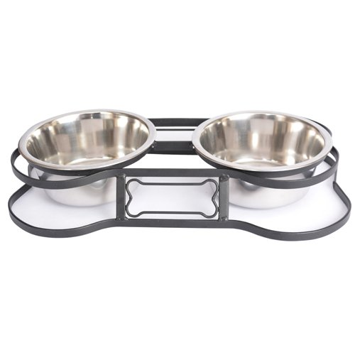 (Iconic Pet 8-Cup Heavy Duty Pet Bone Design Double Diner,)