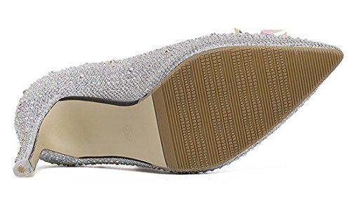 Qiyun Spillo Strass Scarpe Paillettes Cristallo z Medio Lady A 8cm Con Argento In Tacco 4Yr4xqH