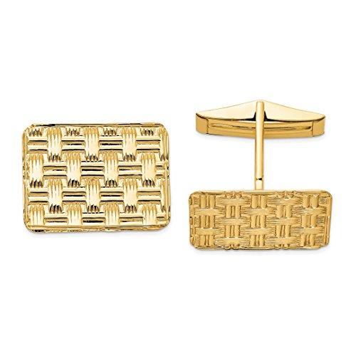 ICE CARATS 14kt Yellow Gold Cuff Links Mens Cufflinks Man Link Fine Jewelry Dad Mens Gift Set (Gold Designer Cufflinks 14k)
