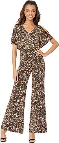(bebe Womens Cape Sleeve Jumpsuit Black/Multi 12)