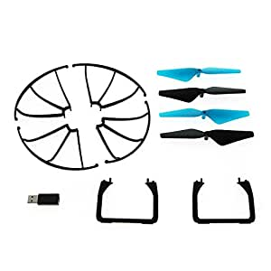 "Force1 U45W Drone Spare Parts - ""Crash Pack"" Includes 4 Propellers 4 Propeller Guards 2 Landing Skids and USB Charger for U45 and U45W Blue Jay Wi-Fi FPV Quadcopter Drone"