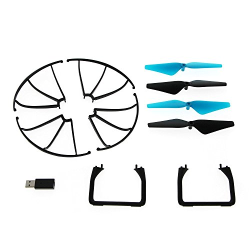 "4 Spare Parts - Force1 U45W Drone Spare Parts - ""Crash Pack"" Includes 4 Propellers 4 Propeller Guards 2 Landing Skids and USB Charger for U45 and U45W Blue Jay Wi-Fi FPV Quadcopter Drone"