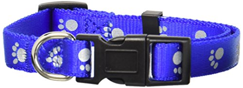 Petmate Adjustable Reflective Dog Collar, 10 by 16-Inch, Royal Blue