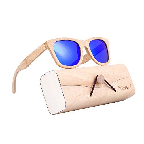 Bamboo Wood Sunglasses For Men Women  Ivsta Polarized Wooden Vintage Wayfarer Sunglasses