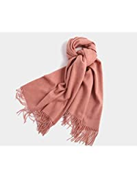 nwn Thick Scarf Winter Wool Warm Solid Color Dual-use Shawl (Color : Pink)