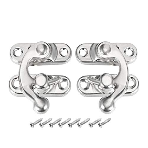 uxcell Antique Latch Hook Hasp, Swing Arm Latch Silver Tone 5 Pairs w Screws ()