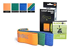 BLACKROLL Loop Band Resistance, Skin-Friendly Fabric Fitness Band Set, Different Resistances (Soft, Medium, Strong), 3 in One Kit, Orange, Green, Blue