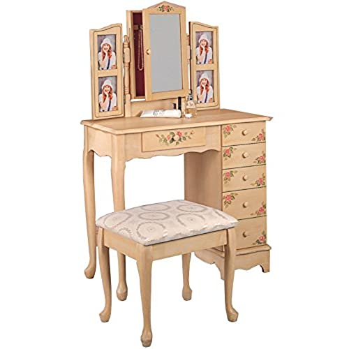 Coaster Queen Anne Style Vanity Table and Stool/Bench Set, Hand Painted - Vintage Vanity Set: Amazon.com