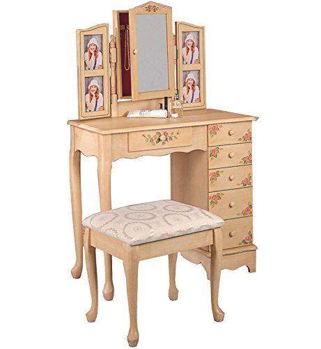 Coaster Queen Anne Style Vanity Table and Stool/Bench Set, Hand - Anne Bench Storage Queen Style