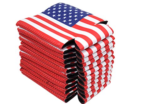 Neoprene Can Cooler Sleeve Collapsible Coolie Economy Bulk Insulation with Stitches Perfect 4 Events,Custom DIY Projects Variety of Colors (6, USA Flag) by QualityPerfection (Image #5)