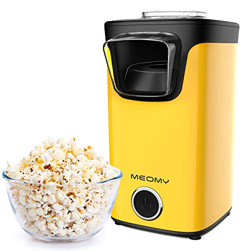 MEOMY Hot Air Popcorn Maker, 1100W Electric Popcorn Machine with Measuring Cups, 98% Poping Rate, BPA-Free, 2 Minutes Fast Popcorn Popper Perfect for Birthday Parties, Movie Nights, Yellow