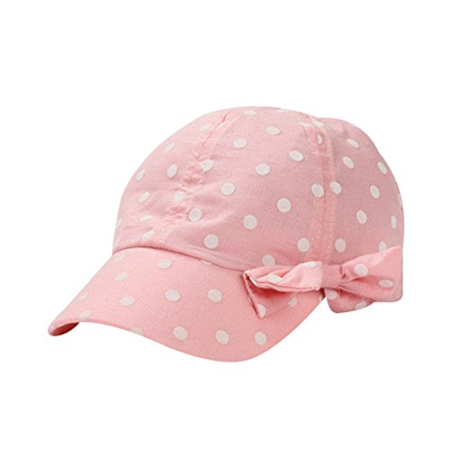 Toddler Sun Hat Girls Summer Hat Cap UV Protection Dot&Bowknot Beach Hat Baseball Caps UPF 50+ (S, Pink)