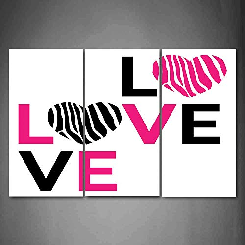 Hanging Wall Art Oil Painting 3 Panel,Pink Zebra 3D Picture Print,I Love You Calligraphy Zebra Stripes Hearts Valentines Illustration,Home Decoration Wall Decor Gift,Pink Black and White ,Indoor/Livin