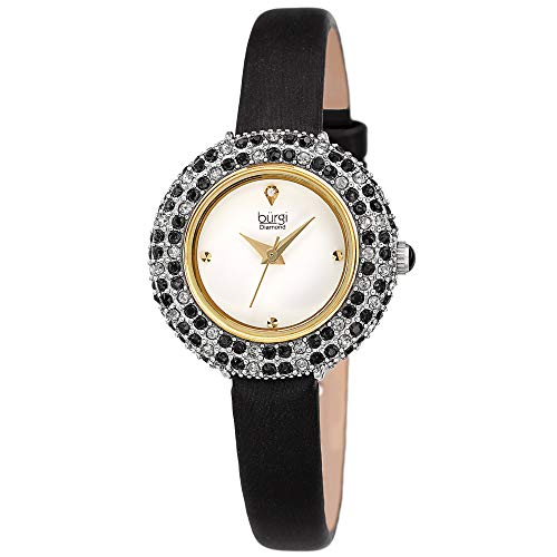 Burgi Swarovski Colored Crystal Watch - A Genuine Diamond Marker - Slim Leather Strap Elegant Women's Wristwatch - Mothers Day Gift - BUR240BK (Black)