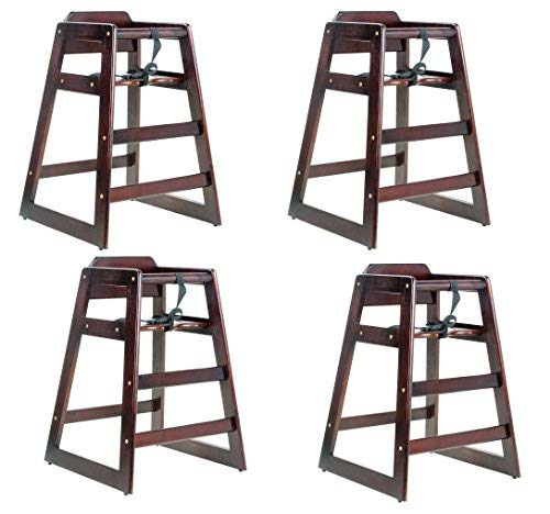 Lancaster Dark Finish Stacking Restaurant Wood High Chair 4 PACK solid wood stacking - Restaurant Stacking Chair High