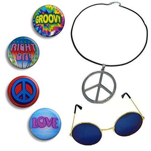 NorNovelties Hippie Costume Accessories - Peace Sign Necklace 4 Buttons Groovy Glasses 6 Piece Set