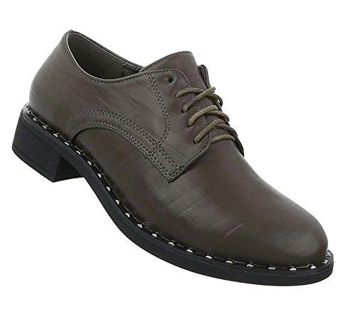 Damen Schuhe Halbschuhe Schnürer Khaki