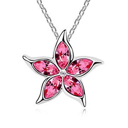 (Fashion Womens Star Pink Crystal Rhinestone Silver Chain Pendant Necklace ~пјЃпјЃ)