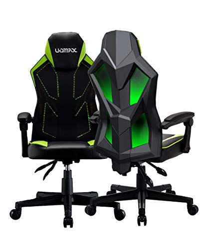 UOMAX Gaming Chairs, Ergonomic Computer Chair for Gamers, Reclining Racing Chair with LED Lights, Armrests and Lumbar Cushion.(Green)