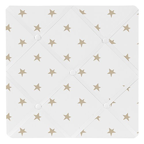 Fabric Photo Board (Sweet Jojo Designs Gold and White Star Fabric Memory Memo Photo Bulletin Board for Celestial Collection by)