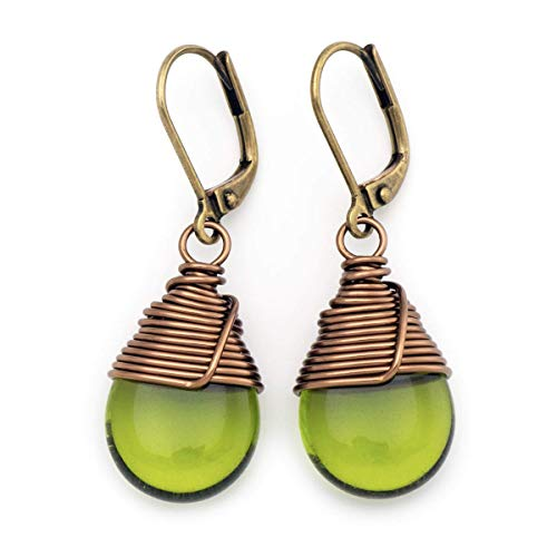 Olive Green Czech Glass Wire-wrapped Drop Bronze Lever-back Earrings 1.4 Inches