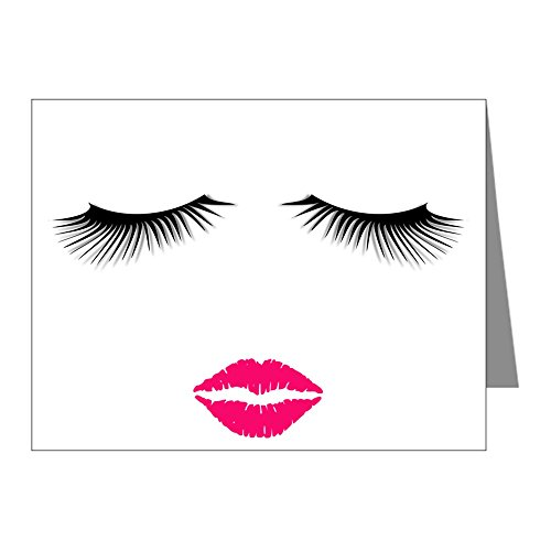 CafePress - Lipstick And Eyelashes Note Cards - Blank Note Cards (Pack of 20) Glossy
