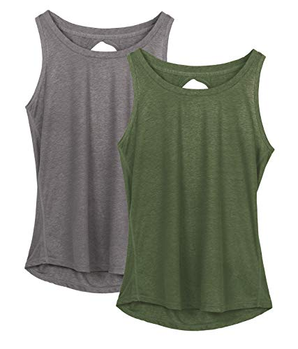 icyzone Yoga Tops Activewear Workout Clothes Open Back Fitness Racerback Tank Tops for Women (S, Grey/Green)