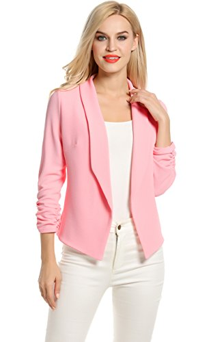 Women%27s+Basic+Lightweight+Thin+3%2F4+Sleeve+Open-Front+Blazer+Coat+%28L%2C+Pink%29