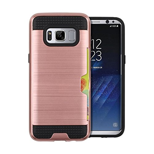 Price comparison product image For Samsung Galaxy S8/S8 Plus, MNtech Phone Case With Card Pocket Hybrid Armor Case Cover (Rose Gold, For Samsung Galaxy S8 Plus)