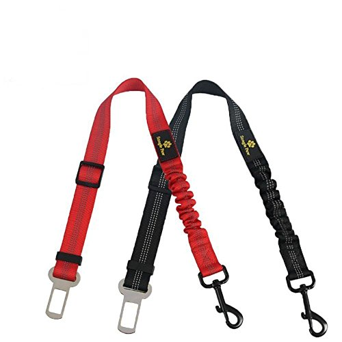 Pet Dog Seat Belt Leash, Car Vehicle Cat & Dog Seatbelt Safety Belt Lead Harness, Adjustable Nylon with Shock Absorbing Bungee and Reflective Stitching from Snagle Paw, Black/Red, 2 Pack