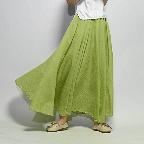 Mujer Cintura Elástica Falda Larga Vestido Boho De Playa Falda Maxi De Noche Fiesta Boda Elegante Vestidos De Plisadas Grande Pasto verde