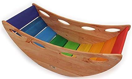 Indoor Baumwollseile gestepptes Samtmaterial Farbe: Dunkelblau Baby Steps WoodSwing Schaukel f/ür Kinder Kinderschaukel aus Holz