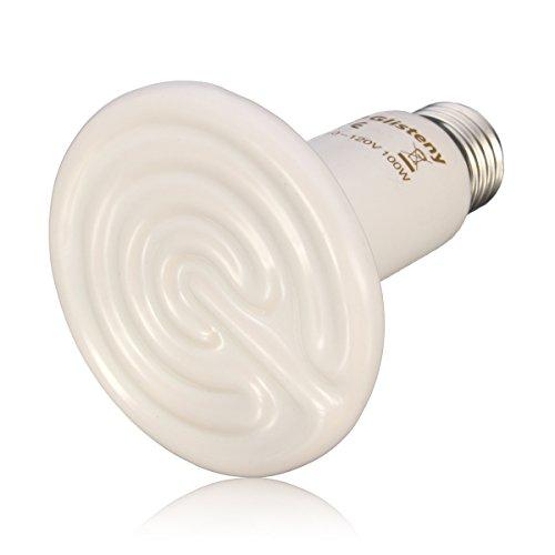 150w Red Heat Bulb (Ceramic Heat, GLISTENY Mini Heat Lamp Infrared Bulb Emitter Lamp Infrared Ceramic Bulb Heat Lamp Red Heat Bulb for Pet Coop Heater Reptile Chicken Coops Brooding Turtle Brooder Bulb White 150W)