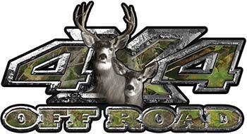 Weston Ink Deer Hunting Edition with Buck and Doe 4x4 ATV Truck or SUV Vehicle Decal/Sticker Kit in Camouflage