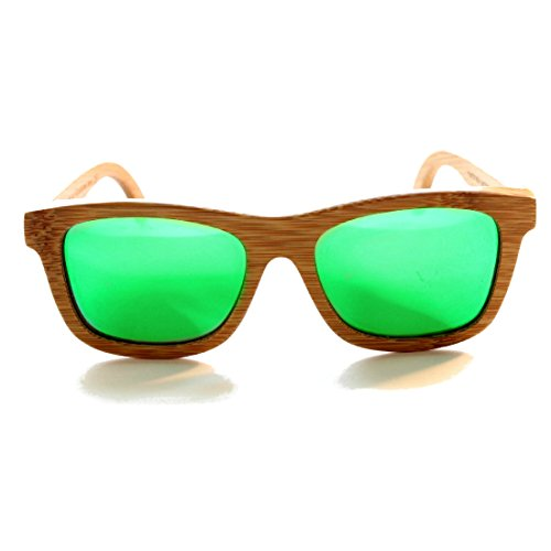 RawWood Originals Natural/Green Polarized Bamboo Wood Sunglasses 100% Floating Shades