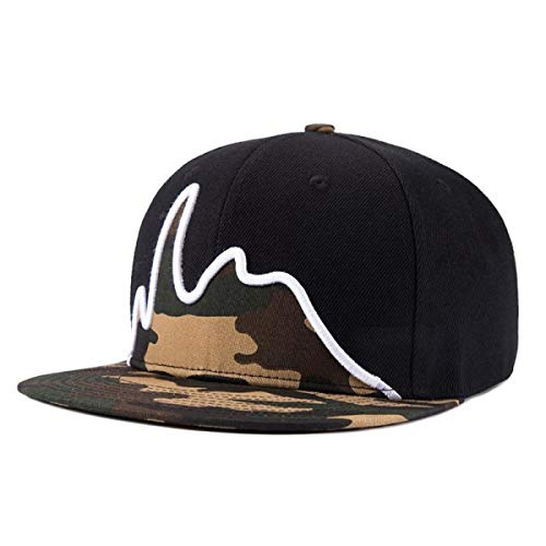Snapback Caps for Men Flat Brim Straight Hat Baseball Caps Snap Back Hip ()