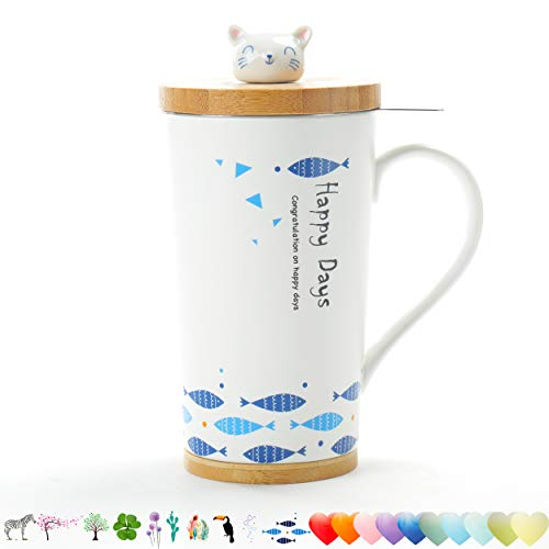 TEANAGOO M58-6 Tea Cup with Filter and Lid, 18 OZ, Cat, Mom Dad Women Teaware with Infuser, Tea Mug Steeper Maker, Brewing Strainer for Loose Leaf Tea, Diffuser mug set -