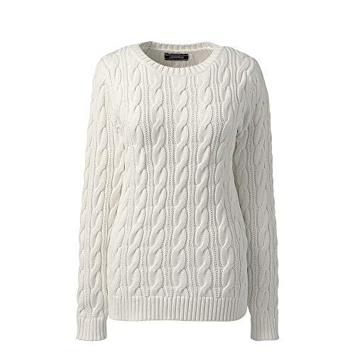 (Lands' End Women's Plus Size Drifter Cotton Cable Knit Sweater Crewneck, 1X,)